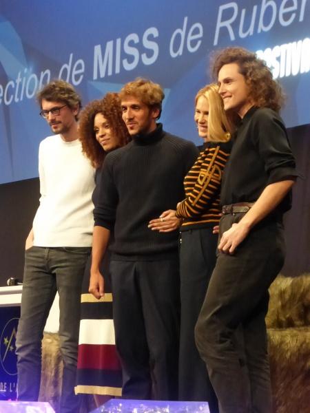 Photo Miss 2 Festival Alpe d'Huez 2020 équipe du film (c) Olivier Bachelard - Ruben Alves, Stefi Selma, Alexandre Wetter, Pascale Arbillot, Hugo Gélin