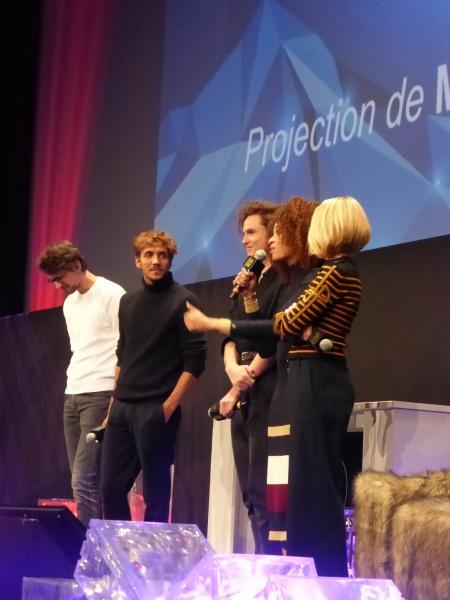 Photo Miss 3 Festival Alpe d'Huez 2020 équipe du film (c) Olivier Bachelard - Ruben Alves, Stefi Selma, Alexandre Wetter, Pascale Arbillot, Hugo Gélin