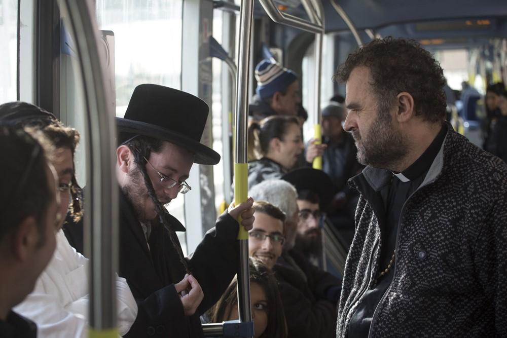 Un tramway à Jerusalem film image